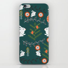 Winter holidays with bunnies iPhone Skin