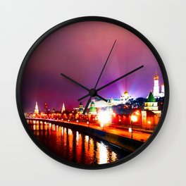 Shining Illumination Of Moscow Kremlin At Winter Night Wall Clock