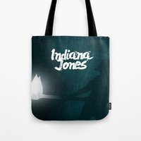 indiana jones Tote Bags featuring Indiana Jones by SG Posters