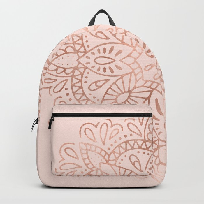 Mandala Rose Gold Pink Shimmer on Blush Pink Backpack