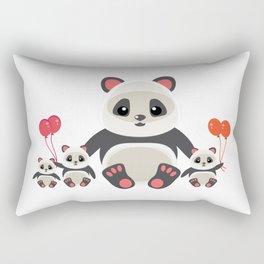 Cute panda bear with kids cartoon Rectangular Pillow