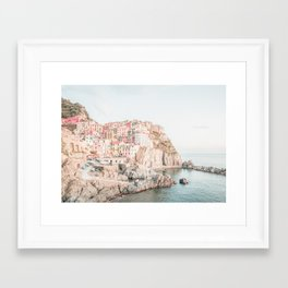 Positano, Italy Amalfi coast pink-peach-white travel photography in hd Framed Art Print
