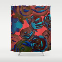Exposed Red And Blue Roses Pattern Shower Curtain