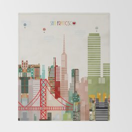 san francisco skyline Throw Blanket