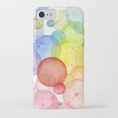 Watercolor Abstract Rainbow Circles and Splatters iPhone 7 Slim Case