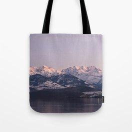 Panorama mountain scenery thun winter Tote Bag