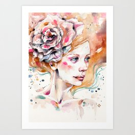 As Delicate As A Wildflower (female portrait) Art Print