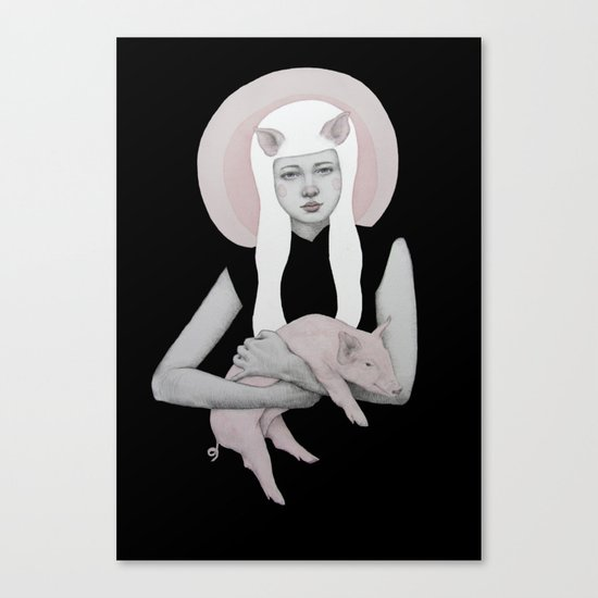 Peonia in Black Canvas Print