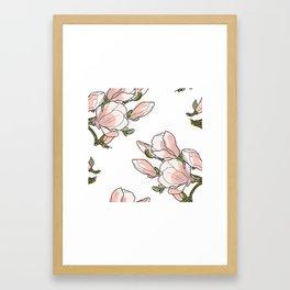 Magnolia branch pattern Framed Art Print