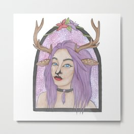 Deer Girl Metal Print