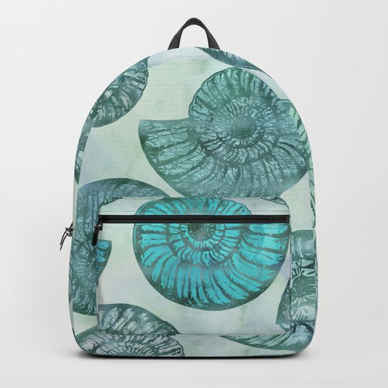 Shimmering Underwater Shell Scenery in turquoise, aqua and teal Backpack