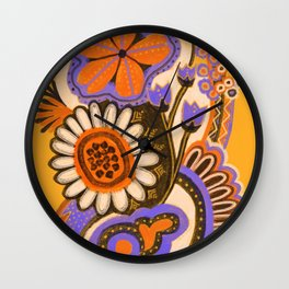 Psychedelic Flowers Wall Clock