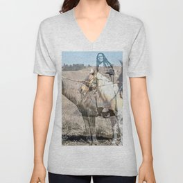 She never rides alone Unisex V-Neck
