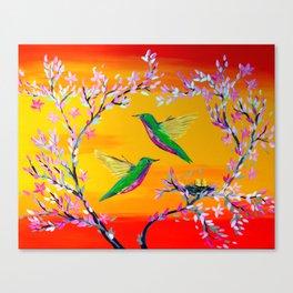 Yeloowlow and Orange with Hummingbirds Canvas Print