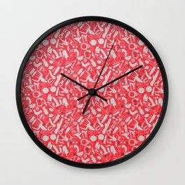 NSFW Red Kinky S&M Pattern Wall Clock