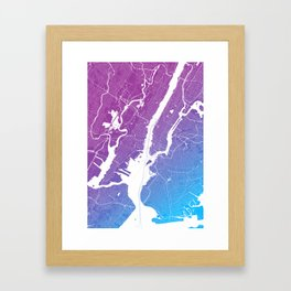 New York Map Print. Neon Pink and Blue Framed Art Print