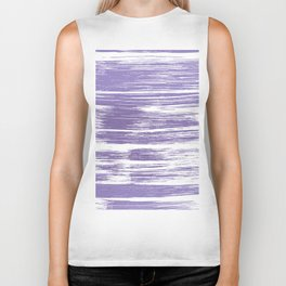 Modern abstract lilac lavender white watercolor brushstrokes Biker Tank