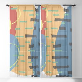 stripes and confetti Sheer Curtain