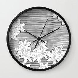 line art flowers on stripes Wall Clock