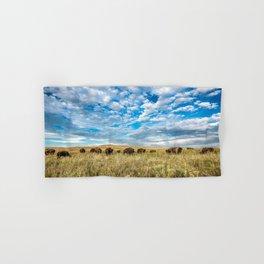 Grazing - Bison Graze Under Big Sky on Oklahoma Prairie Hand & Bath Towel