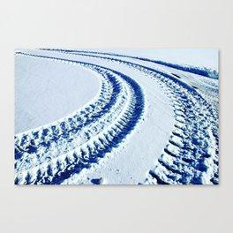 Tire Tracks in Snow Canvas Print