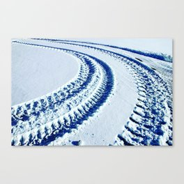Tire Tracks in Snow Canvas Print