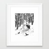 snowman Framed Art Prints featuring snowman by MyMoonart
