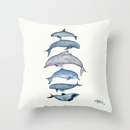 """Rare Cetaceans"" by Amber Marine - Watercolor dolphins and porpoises - (Copyright 2017) Throw Pillow"
