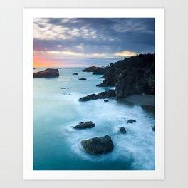 Oregon Coast Sunset at Thunder Rock Cove Art Print