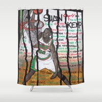 nba Shower Curtains featuring NBA PLAYERS - Shawn Kemp by Ibbanez