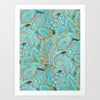 paisley Art Prints featuring paisley, paisley by Ariadne