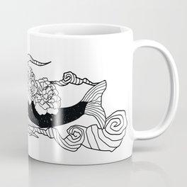 Flying galaxy whale flower Coffee Mug