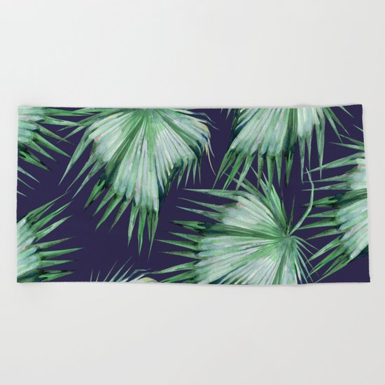 Floating Palm Leaves Blue Beach Towel
