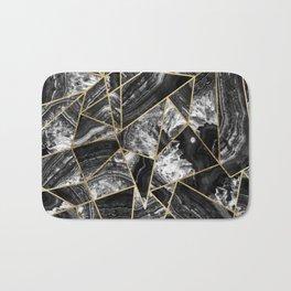 Black White Agate Black Gold Geometric Triangles Bath Mat