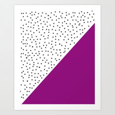 Geometric grey and purple design Art Print