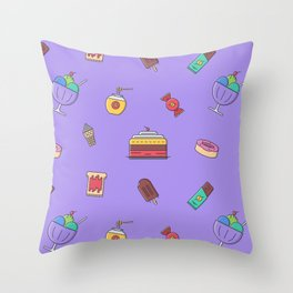 Cafe food icon pattern Throw Pillow