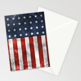 American Flag Stars and Stripes Distressed Grunge 4th. July Stationery Cards
