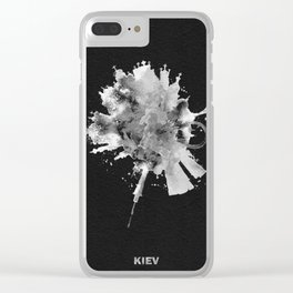 Kiev, Ukraine Black and White Skyround / Skyline Watercolor Painting (Inverted Version) Clear iPhone Case