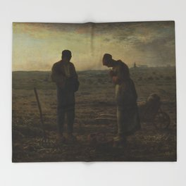 The Angelus by Millet Throw Blanket