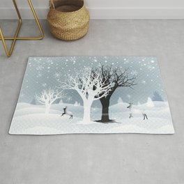 Winter Holiday Fairy Tale Fantasy Snowy Forest Collection Rug