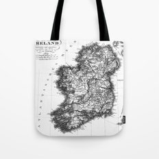 Vintage Black and White Ireland MAp Tote Bag