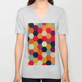 Colorful Beehive Pattern Unisex V-Neck