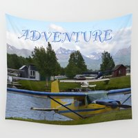 airplanes Wall Tapestries featuring ~ ADVENTURE ~ by Alaskan Momma Bear