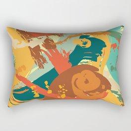 Vivid Strokes in Orange and Teal Rectangular Pillow