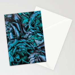 Great Garden Roses with silver dust,turquoise Stationery Cards