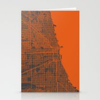 chicago map Stationery Cards featuring Chicago map by Map Map Maps