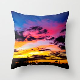 Sunset on Hwy 380 Throw Pillow