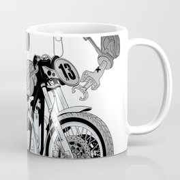 Concept demonstrating the construction of a sports bike. Coffee Mug