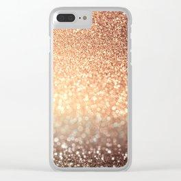 Cozy Copper Espresso Brown Ombre Autumnal Mermaid Glitter Clear iPhone Case