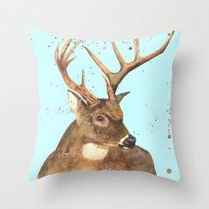 Ice Reindeer Throw Pillow
